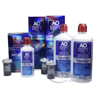 roztok na čočky AOSEPT PLUS HydraGlyde 2x 360 ml a 90ml s pouzdry