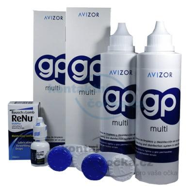 roztok na čočky AVIZOR GP MULTI 2x 240 ml a oční kapky Renu lubricating 8 ml