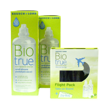 Biotrue 2x 360 ml a Fligh Pack 2x 60 ml s pouzdry