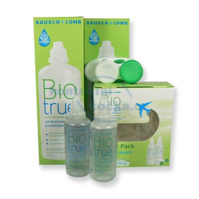 roztok na kontaktní čočky Biotrue 2x 360 ml a Fligh Pack 2x 60 ml s pouzdry