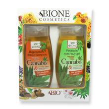 BIONE Dárková sada Cannabis Regenerační vlasový šampon 260 ml a relaxační sprchový gel 260 ml