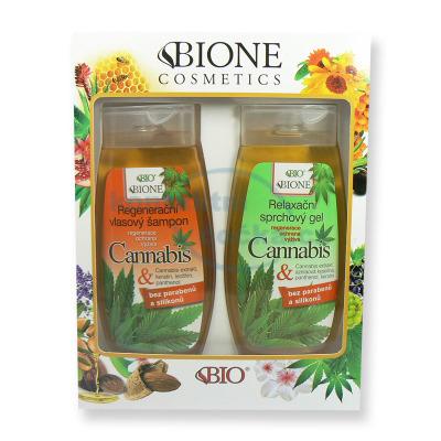 Dárková sada Bione Cannabis Regenerační vlasový šampon 260 ml a Relaxační sprchový gel 260 ml