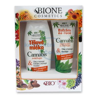 Bione Cosmetics Cannabis Dárková sada Tělové mléko 500 ml + Balzám na ruce 205 ml