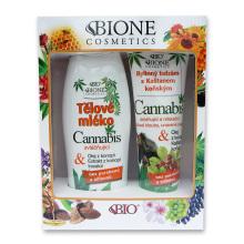 Bione Cosmetics Cannabis Dárková sada Tělové mléko 500 ml + Bylinný balzám s Kaštanem koňským 300 ml