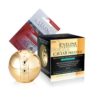 Eveline Caviar denní krém 50 ml + Eveline liftingová pleťová maska BIO Q10 7ml