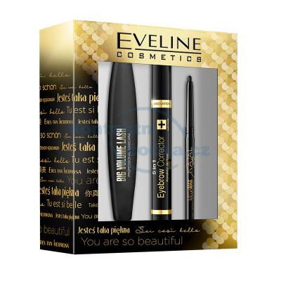 Dárková sada EVELINE Big Volume - řasenka + korektor obočí + tužka na oči