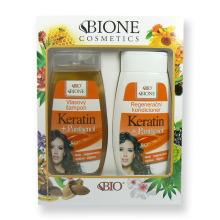 Dárková sada Bione Keratin + Panthenol Vlasový šampon 260 ml + Regenerační kondicionér 260 ml