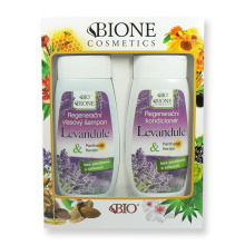 Dárková sada Bione Levandule Regenerační vlasový šampon 260 ml a Regenerační kondicionér 260 ml
