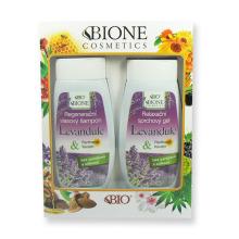BIONE Dárková sada Levandule Regenerační vlasový šampon 260 ml a relaxační sprchový gel 260 ml