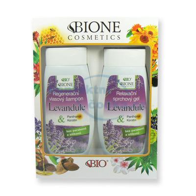 Dárková sada Bione Levandule Regenerační vlasový šampon 260 ml a Relaxační sprchový gel 260 ml
