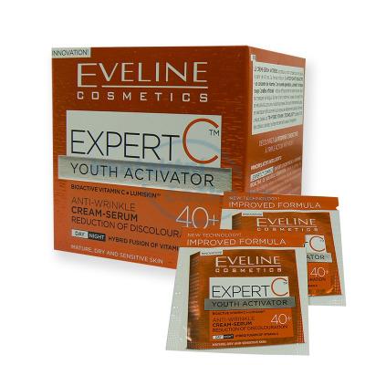 Eveline EXPERT C denní a noční protivráskový krém-sérum 40+ 50 ml + 2x tester