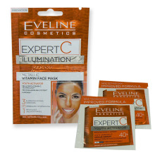 Eveline EXPERT C rozjasňující vitaminová pleťová maska 3v1 2x 5 ml + 2x tester