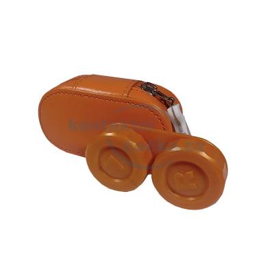 pouzdro na čočky se zrcátkem KOŽENÉ oranžové