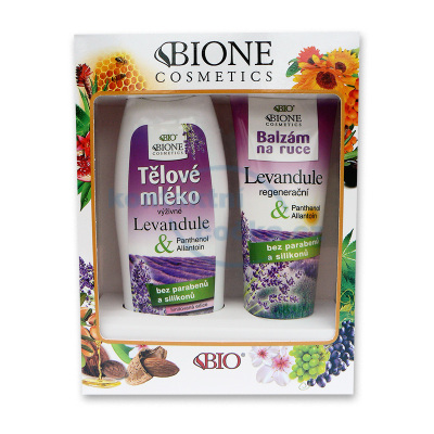 Bione Cosmetics Levandule Dárková sada Tělové mléko 500 ml+Balzám na ruce 205 ml