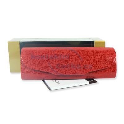 Luxusní dámské pouzdro na brýle z pravé kůže s mikrovláknem 800151 červené