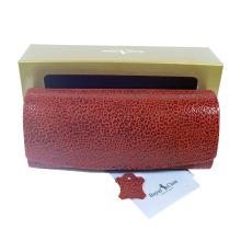 Luxusní dámské pouzdro na brýle z pravé kůže s mikrovláknem červené 800126
