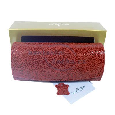 Luxusní dámské pouzdro na brýle z pravé kůže červené s mikrovláknem - 800126