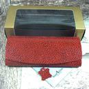 Luxusní dámské pouzdro na brýle červené z pravé kůže s mikrovláknem - 800126