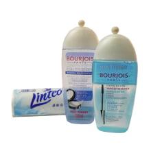 Odličovací sada na voděodolný make up - rychlý odličovač očí 200 ml, micelární voda 250 ml a kosmetické tampony 100 ks
