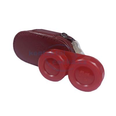 pouzdro na čočky KOŽENÉ červené se zrcátkem